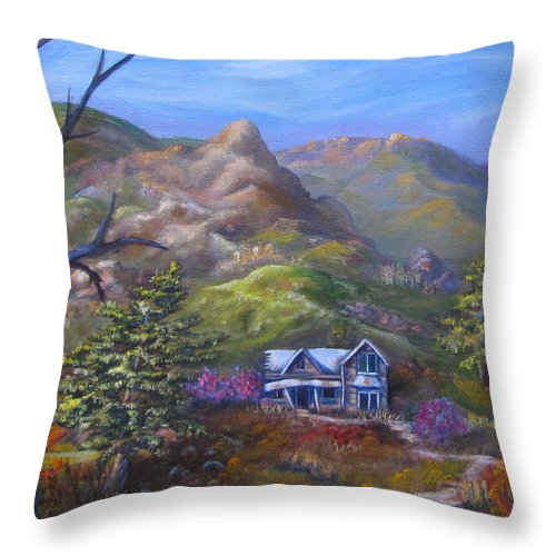 Abandoned Throw Pillow featuring the painting Abandoned by Mary Leiseth