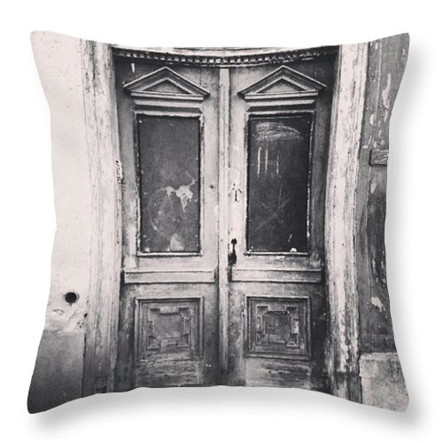 Lostplaces Throw Pillow featuring the photograph #abandoned #monochrome #sonneberg by Mandy Tabatt