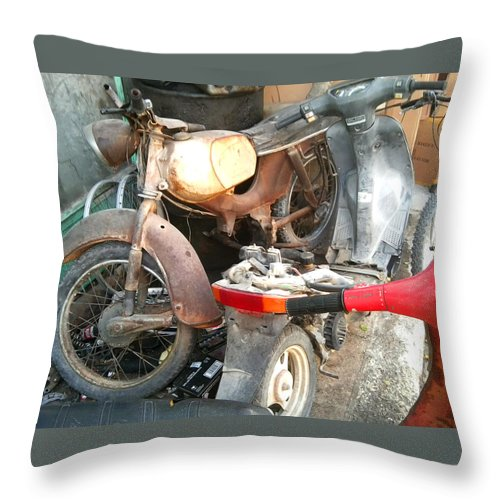 Mototbike Throw Pillow featuring the photograph Abandoned Motorbike by Heather Lennox