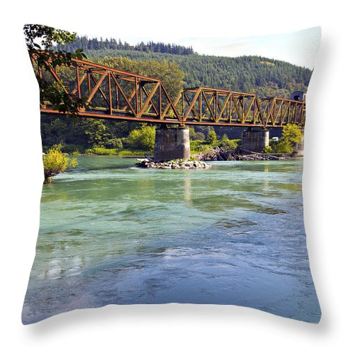 Abandoned Throw Pillow featuring the photograph Abandoned Railroad Bridge by Paul Fell