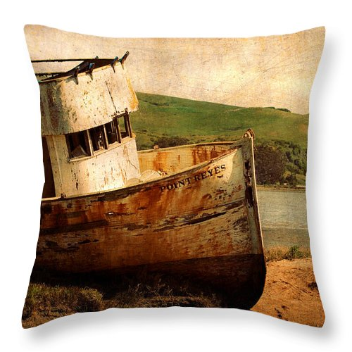 Shipwreck Throw Pillow featuring the photograph Abandoned by Renee Hong