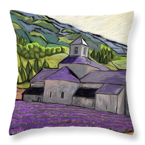 Figurative Throw Pillow featuring the painting Abbaye de Senanque by Xavier Ferrer