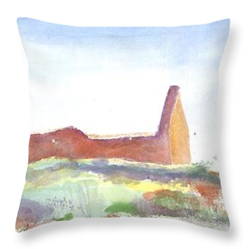 Throw Pillow featuring the painting Abbey Abstract by Kathleen Barnes