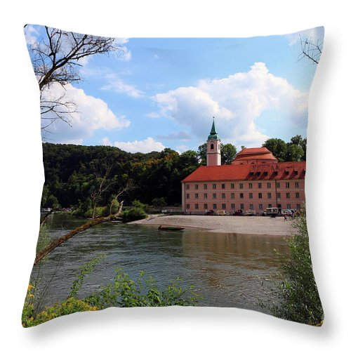 Abbey Throw Pillow featuring the photograph Abbey Weltenburg And Danube River by Christiane Schulze Art And Photography