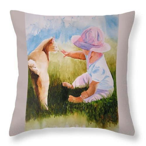 Baby Throw Pillow featuring the painting Abbie's Kitty by Karen Stark
