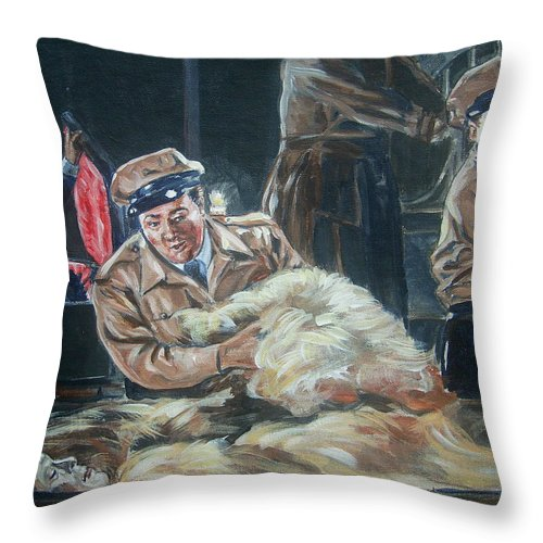 Comedy Throw Pillow featuring the painting Abbott And Costello Meet Frankenstein by Bryan Bustard