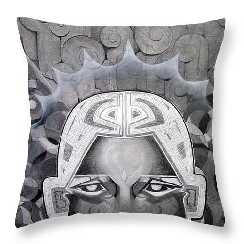 Art Throw Pillow featuring the drawing Abcd by Myron Belfast