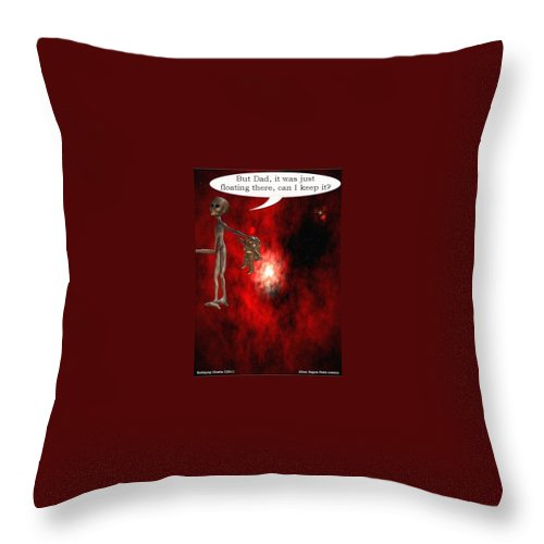 Artrage Artrageus Comics Cartoon Space Aliens Astronaut Throw Pillow featuring the digital art Abducted by Robert aka Bobby Ray Howle