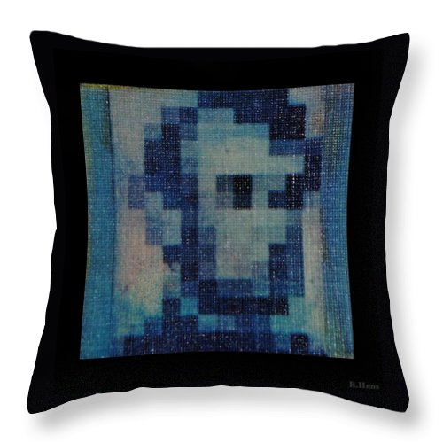 Blue Throw Pillow featuring the photograph Abe In Light Blue by Rob Hans