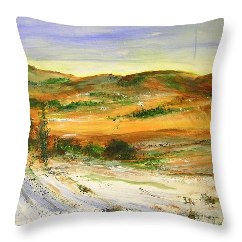 Landscape Throw Pillow featuring the painting Aberdeen winter Landscape by Lizzy Forrester