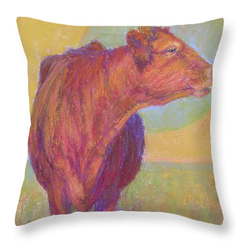 Cows Throw Pillow featuring the painting Abigail by Susan Williamson