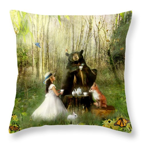 Abigails Friends Throw Pillow featuring the mixed media Abigails Friends by Carrie Jackson