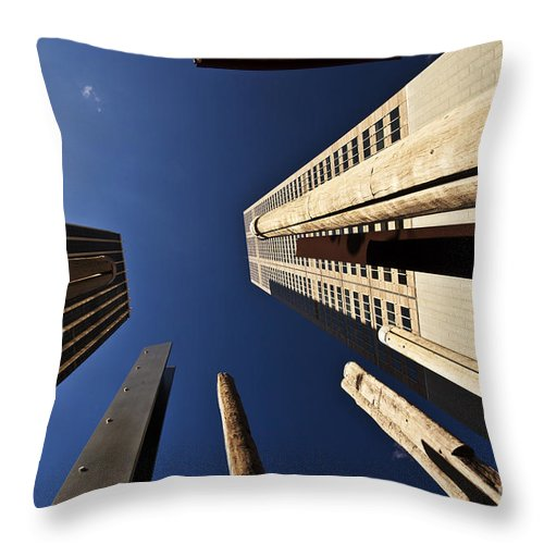 Australian Aboriginal Sound Poles Skyscrapers City Throw Pillow featuring the photograph Aboriginal Sound Poles by Sheila Smart Fine Art Photography