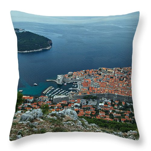 Dubrovnik Throw Pillow featuring the photograph Above Dubrovnik - Croatia by Stuart Litoff
