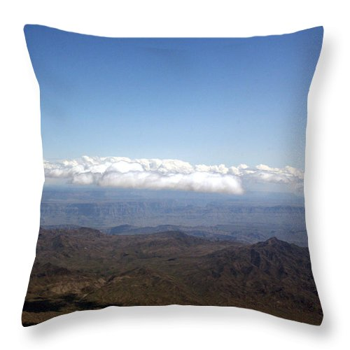 Nevada Desert Clouds Scenery Hills Landscape Sky Canyon Throw Pillow featuring the photograph Above Nevada by Andrea Lawrence