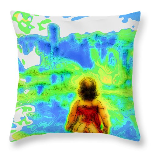 Drawing Throw Pillow featuring the mixed media Above The Clouds - A Fantasy Artwork With A Girl Looking Towards Something Mysterious by Alexandra Cook
