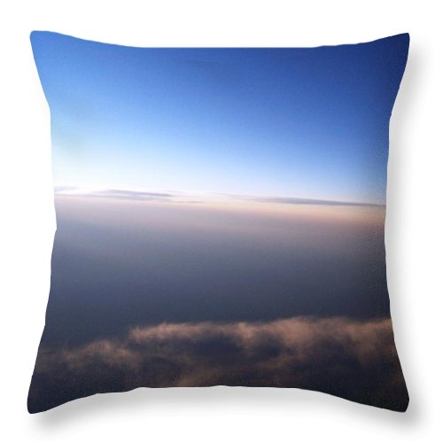 Sky Clouds Aerial White Blue Calm Serene Throw Pillow featuring the photograph Above The Clouds 4 by Anna Villarreal Garbis