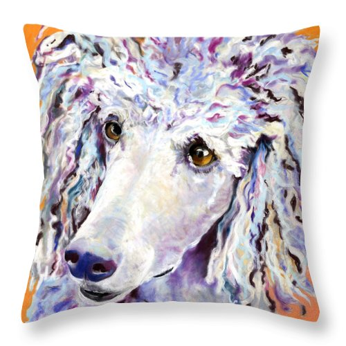 Standard Poodle Throw Pillow featuring the pastel Above The Standard  by Pat Saunders-White