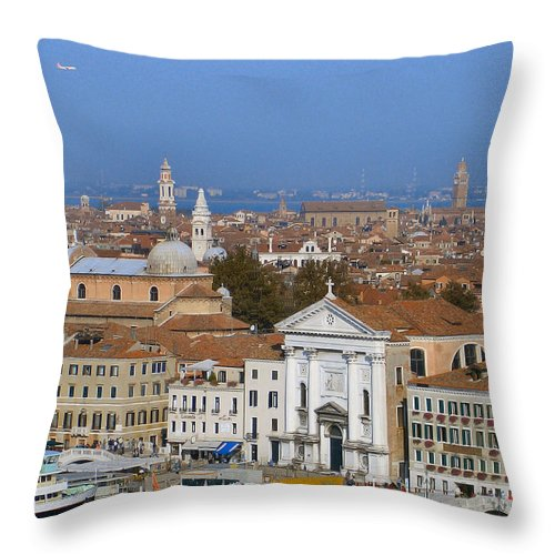 Venice Throw Pillow featuring the photograph Above Venice by Lin Grosvenor