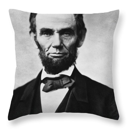 Abraham Lincoln Throw Pillow featuring the photograph Abraham Lincoln by War Is Hell Store