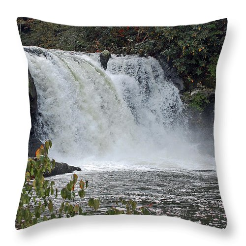 Water Falls Throw Pillow featuring the digital art Abrams Falls Cades Cove Tn by DigiArt Diaries by Vicky B Fuller