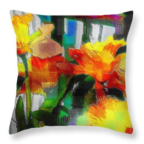 Absinthe Throw Pillow featuring the painting Absinthe Daffies by RC DeWinter