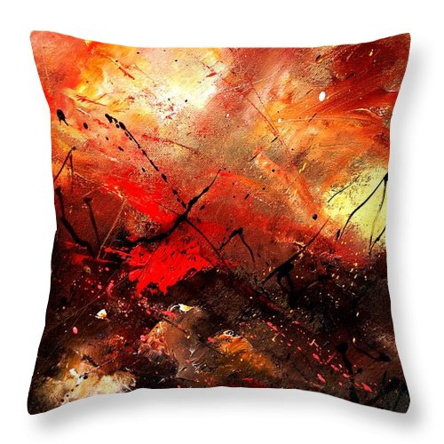 Abstract Throw Pillow featuring the painting Abstract 100202 by Pol Ledent
