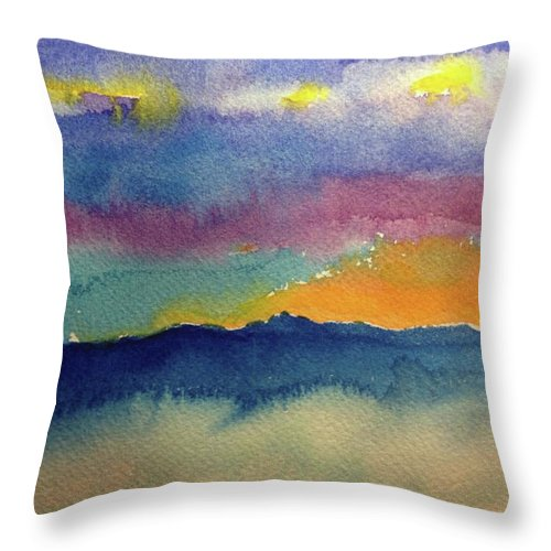 Abstract Throw Pillow featuring the painting Peaking by Bonny Butler