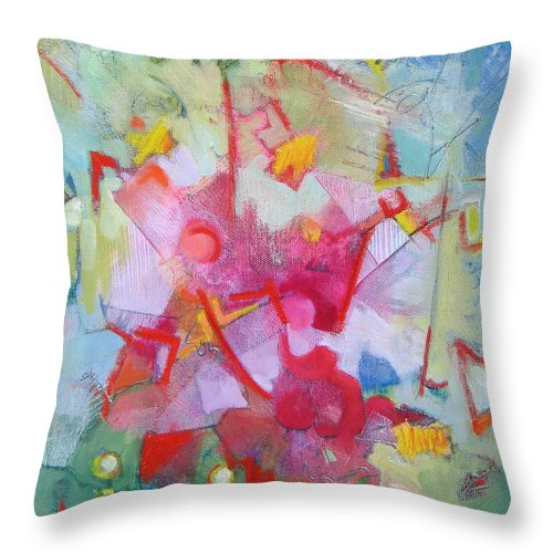 Abstract Throw Pillow featuring the painting Abstract 2 With Inscribed Red by Susanne Clark