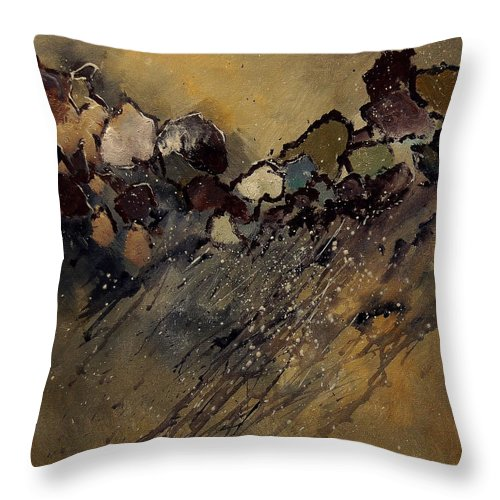 Abstract Throw Pillow featuring the painting Abstract 55901161 by Pol Ledent
