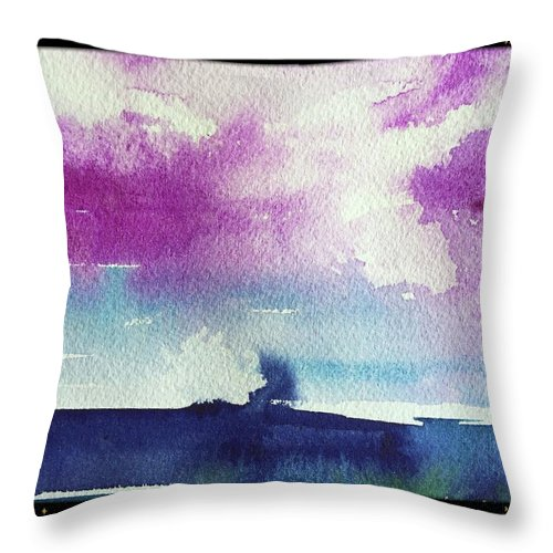 Abstract Throw Pillow featuring the painting Purple Sky's by Bonny Butler