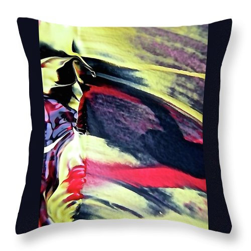 Yellow Throw Pillow featuring the painting Abstract 6738 by Stephanie Moore