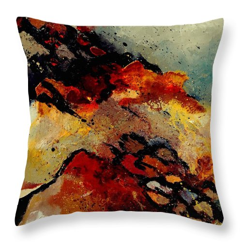 Abstract Throw Pillow featuring the painting Abstract 780707 by Pol Ledent