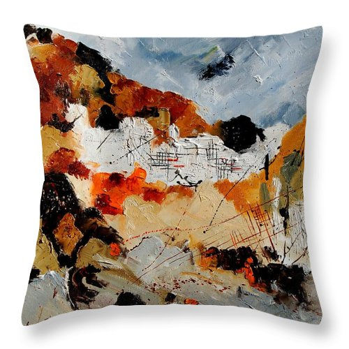 Abstract Throw Pillow featuring the painting Abstract 780708 by Pol Ledent