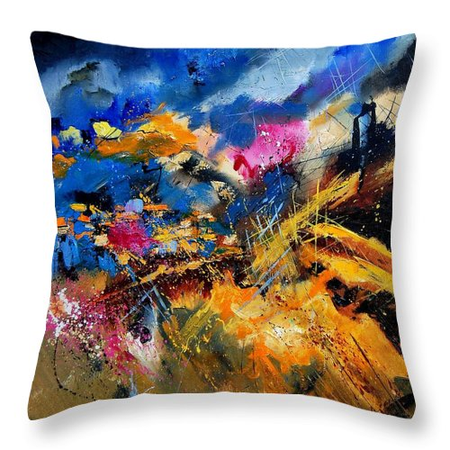 Abstract Throw Pillow featuring the painting Abstract 7808082 by Pol Ledent