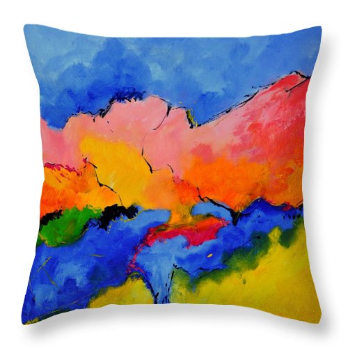 Abstract Throw Pillow featuring the painting Abstract 88112060 by Pol Ledent