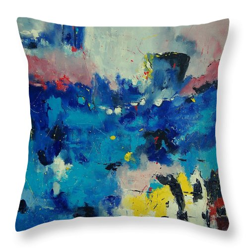Abstract Throw Pillow featuring the painting Abstract 889011 by Pol Ledent