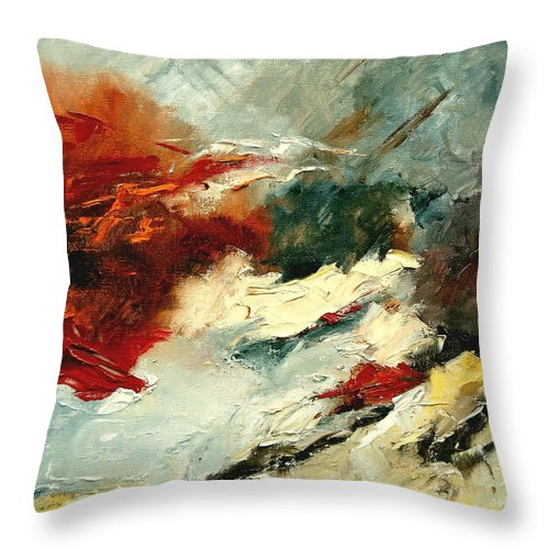 Abstract Throw Pillow featuring the painting Abstract 9 by Pol Ledent