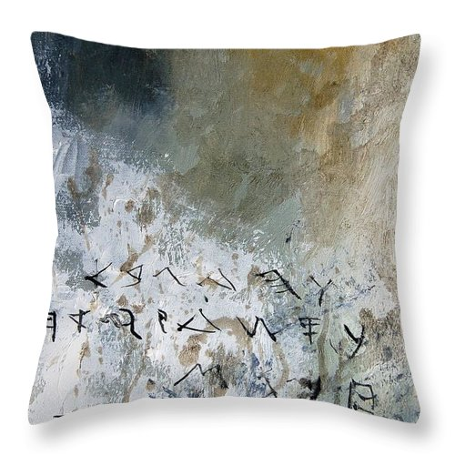 Abstract Throw Pillow featuring the painting Abstract 904023 by Pol Ledent