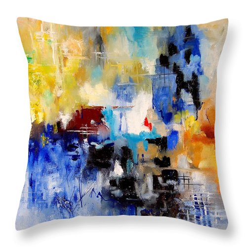 Abstract Throw Pillow featuring the painting Abstract 905003 by Pol Ledent