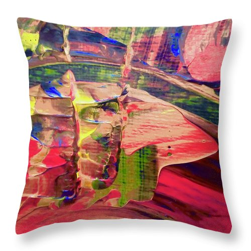 Red Throw Pillow featuring the painting Abstract 9096 by Stephanie Moore