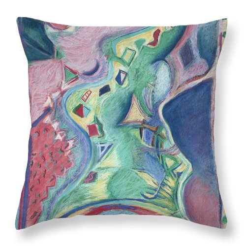 Abstract Throw Pillow featuring the painting Abstract 92 - Inner Landscape by Kerryn Madsen- Pietsch