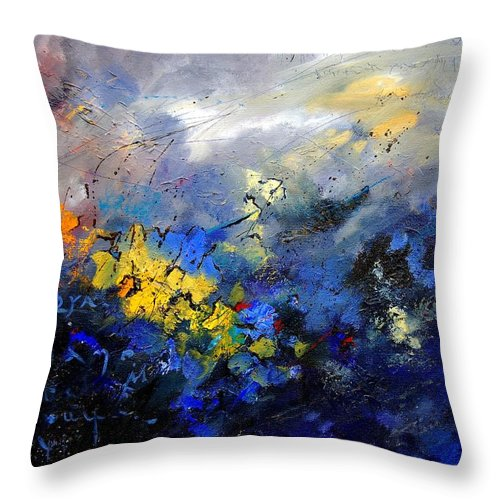 Abstract Throw Pillow featuring the painting Abstract 970208 by Pol Ledent