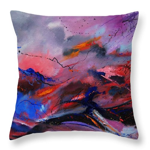 Abstract Throw Pillow featuring the painting Abstract 971260 by Pol Ledent