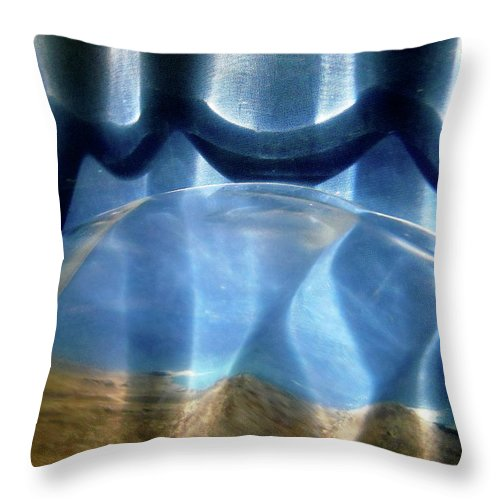 Abstract In Blue And Brown Throw Pillow featuring the photograph Abstract 999 by Stephanie Moore