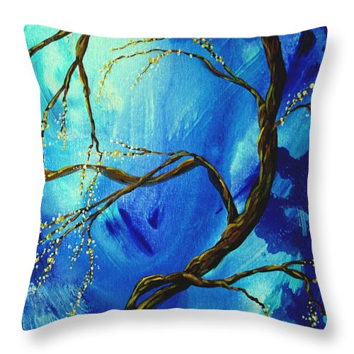 Art Throw Pillow featuring the painting Abstract Art Asian Blossoms Original Landscape Painting Blue Veil By Madart by Megan Duncanson