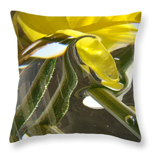 �daffodils Artwork� Throw Pillow featuring the photograph Abstract Artwork Daffodils Flowers 1 Natural Abstract Art Prints Glass Vase Water Art Light Air by Baslee Troutman