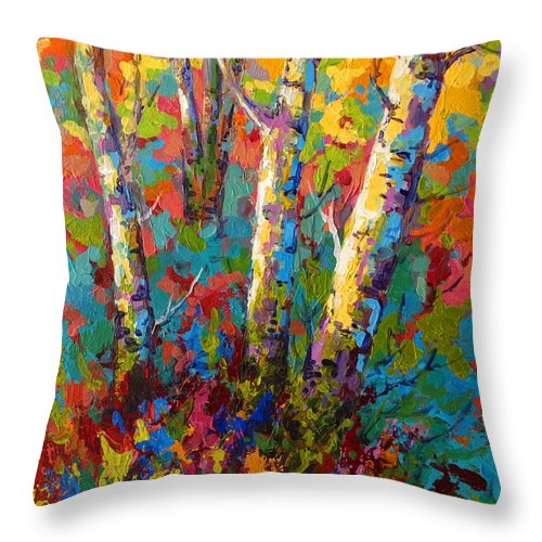 Trees Throw Pillow featuring the painting Abstract Autumn II by Marion Rose