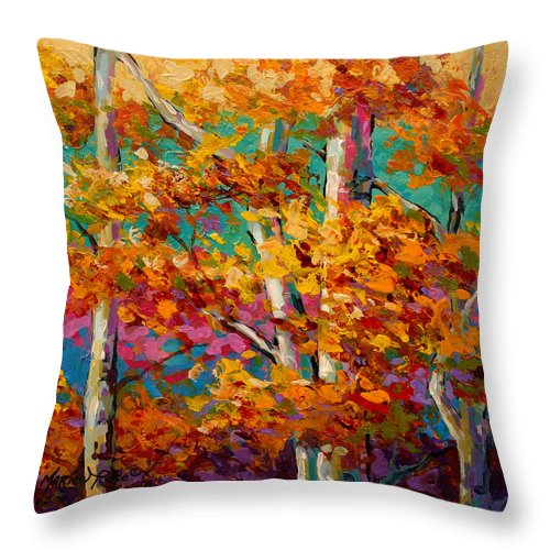 Trees Throw Pillow featuring the painting Abstract Autumn IIi by Marion Rose
