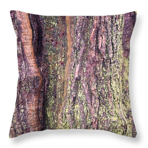 Nature Abstract Modern Green Tree Bark Stripes Pattern Throw Pillow featuring the photograph Abstract Bark 3 by Anna Villarreal Garbis